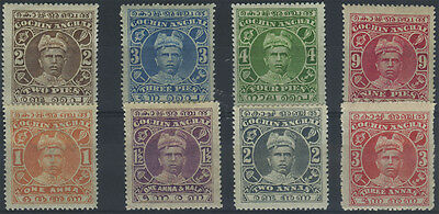 India (Cochin), SG 26/33, 1911-13 set of 8 very fine m/m, fresh appearance, Cat