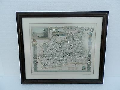 1980's Mounted & Framed Reproduction  Map of Surrey ~ Wrightsons Foil Graphics