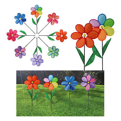 Garden Windmill Large Sun Flowers Bright Coloured Indoor Outdoor Wind Spin Patio