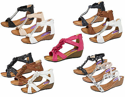 c9b1d9c154c5 Womens T Bar Summer Sandals Low Wedges Heels Ladies Wedge Comfortable Shoes  Size