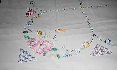 "VINTAGE HAND EMBROIDERED LINEN TABLE CLOTH - FLOWERS - 38"" by 38"""
