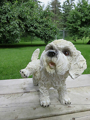 PEEING BICHON FRISE DOG FIGURINE resin animal indoor outdoor PUPPY LEG UP