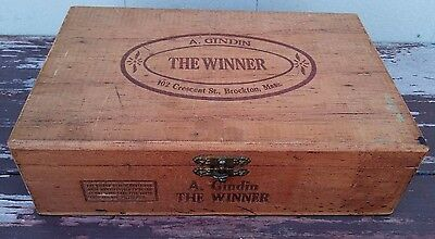 Vintage Printed Wooden Cigar Box - A. Gindin - The Winner - Brockton Mass