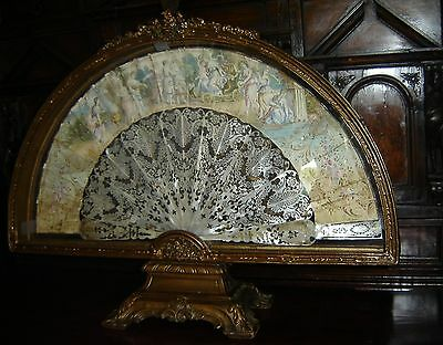 Antique Italian Large Lady Fan Hand Painted Both Sides Carved Wood Stand Frame