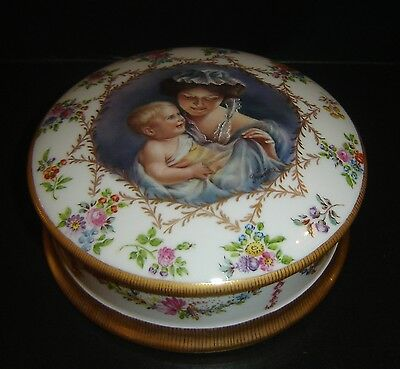 Antique Sevres Porcelain Round Box Mother and Child Portrait Hand Painted Superb