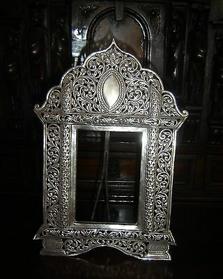 Antique Orientalist Sterling Silver Filigree Picture Frame Large C.1880 Rare