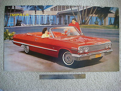 1963 Chevrolet Impala Convertible Dealer Showroom Poster Display Mint-!