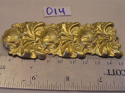 "Vtg HUGE 4"" Tall Brass Ornate Art Nouveau Jewelry Finding Detail Stamping Craft"