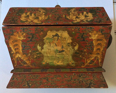 OOAK RARE Antique Chinese Hand Painted Wooden Pine Dowry Chest With Customs Seal