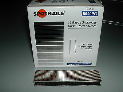 "Spotnails  7/16"" Crown 1 1/4"" 16 Gauge Paslode GSI16 DuoFast 7600 Staples 5,000"