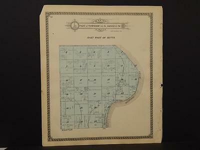 North Dakota Oliver County Map Butte Township 1917 Dbl Sided   J7#14