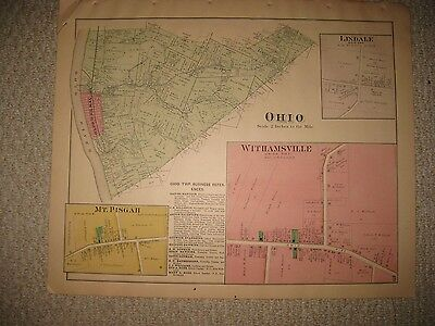 Antique 1891 Ohio Township New Richmond Withamsville Clermont County Ohio Map Nr