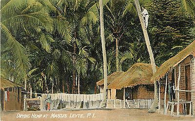 c1910 Drying Hemp at Massis Leyte, Philippines Postcard
