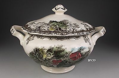 "JOHNSON BROTHERS the FRIENDLY VILLAGE SUGAR BOWL WITH LID 2 3/4""  made England"