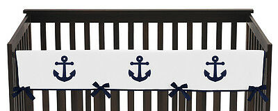 Navy Blue And White Nautical Front Rail Guard Crib Cover Baby Teething Protector