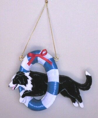 BORDER COLLIE Wooden AGILITY ORNAMENT - Black & White - Customized with Name!
