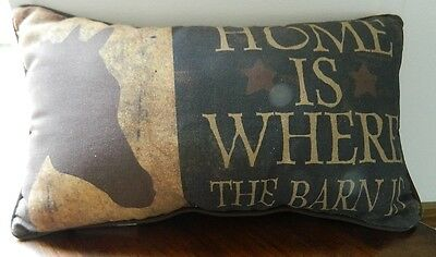 """Horse Horses """"Home is where the Barn is""""  Tapestry Fabric Material Pillow NEW"""