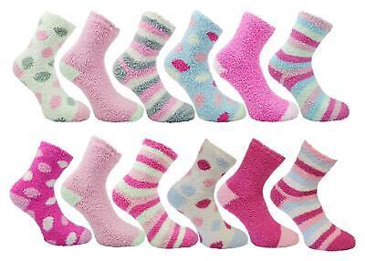 4 Pairs Mixed Ladies Cosy Soft Fleece Lounge Bed Socks With Grip