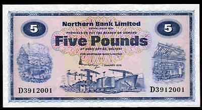 Ireland.  Northern Bank. Five Pounds, series D. 1-1-1976. Uncirculated.
