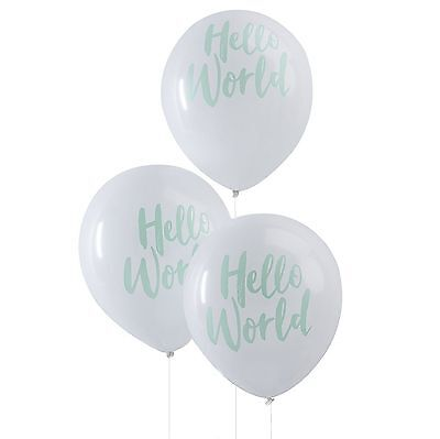 Baby Shower Balloons x 10 Mint & White Hello World party decor by Ginger Ray