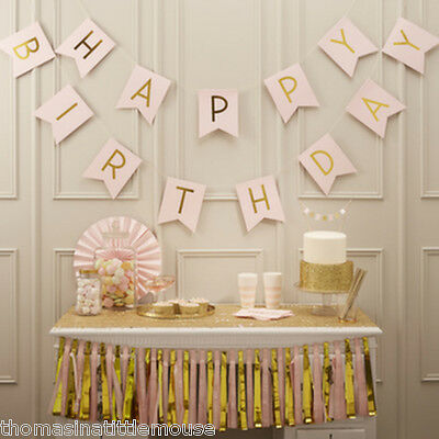 Gold Pink Happy Birthday Bunting - 2.5 metre Ginger Ray UK Seller