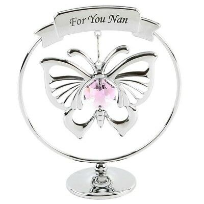 Crystocraft For You Nan With Pink Butterfly Swarvoski Crystal Elements Gift NEW