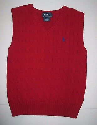 Boys Polo Ralph Lauren Red Cable Knit V-Neck Sweater Vest Size 5
