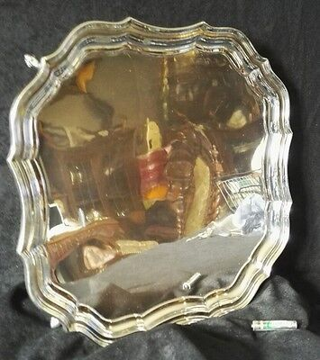 ANTIQUE LARGE HALLMARKED SOLID STERLING SILVER SALVER TRAY 1185 gr 30.CM 1915