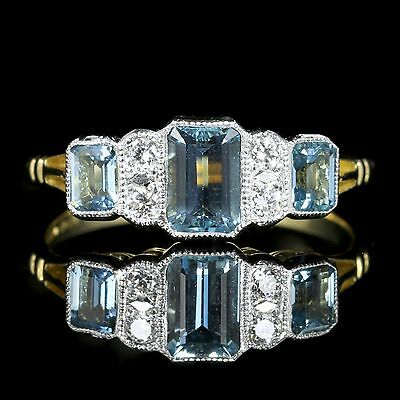 Art Deco Aquamarine Diamond Engagement Ring 18Ct Gold