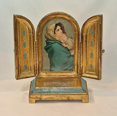 Vintage FLORENTINE GILT Toleware TRIPTYCH Altar with REUGE Music Box Ave Maria