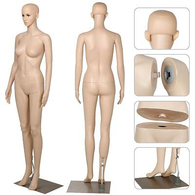 Female Mannequin Plastic Realistic Full Body Display Head Turn Dress Form w/Base