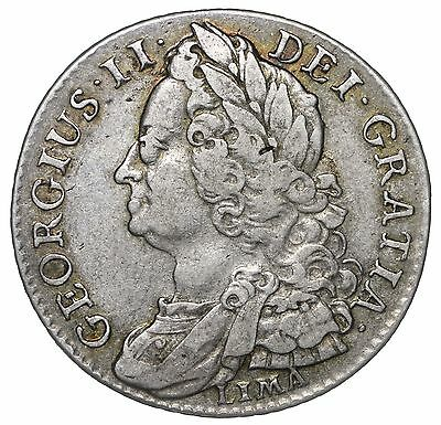 1745 Lima Shilling - George Ii British Silver Coin - Nice