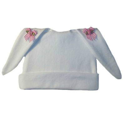 74573eb65394d BABY GIRLS  LOVELY White Baby Hat with Pink Lace - Preemie and ...