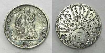 LT15 Engraved Design Shell/Fan/Peacock NELL on 1888 Seated Dime LOVE TOKEN Coin