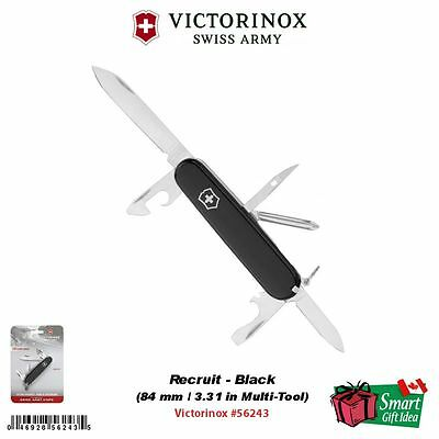 Victorinox Swiss Army Recruit, Black, 84 mm / 3.31in Multi-Tool Knife #56243