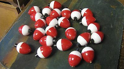 """3/4"""" pear floats, red and white, 25ct, new, fishing, free shipping"""