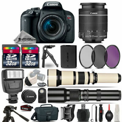 Canon EOS Rebel T7i SLR Camera 800D + 18-55mm + 650-1300mm +500mm Lens -64GB Kit