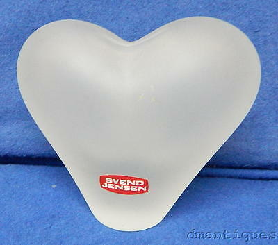 Svend Jensen Designer Art Glass Frosted Crystal Heart Shape Paperweight Bank