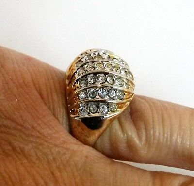 Vintage Clear Rhinestone Dome Ring Gold Tone Size 6-3/4