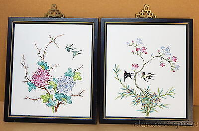 Vintage Asian Japanese Chinese Hand Painted Tiles Framed Art with Birds Flowers