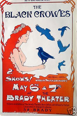 BLACK CROWES 1995 TULSA CONCERT TOUR POSTER - Girl With Crow On Her Hand