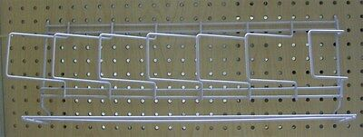 Store Display Fixture NEW 6 POCKET PEGBOARD OR SLATWALL DISPLAY RACK WHITE COLOR