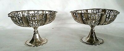 Pair Sterling Silver Bon Bon Candy Reticulated Compote 1922 Adie Bros Birmingham