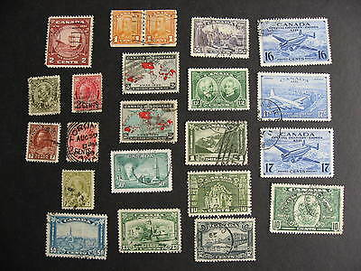 Scrap pile of 21 CANADA different better used stamps, mixed condition