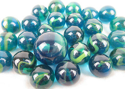 25 Glass Marbles SEA TURTLE Sea Blue/Green Translucent Game Pack Shooter Swirl