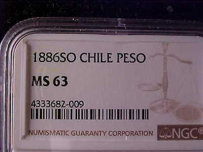 Chile One Peso 1886 Ngc Ms 63