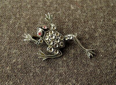 Antique 1920's  Art Deco Jeweled Rhinestones Eyes Chromed Metal Frog Pin