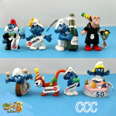 New 8 PCS The Smurfs Papa Smufette Anniversary Collection Figures Set