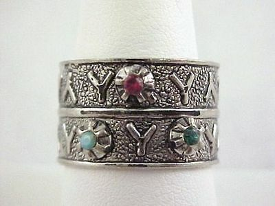 Vtg Silver Tone Adjustable BAND Ring SZ 8.75 Y Decorated Rhinestone