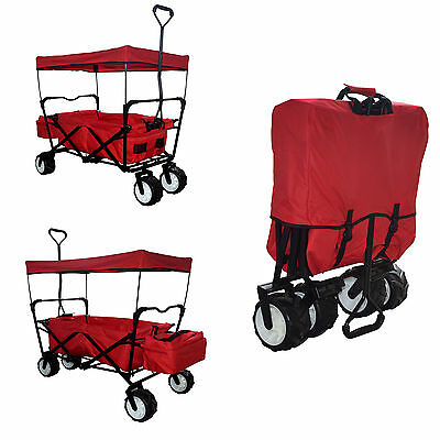 Red Outdoor Folding Wagon Canopy Garden Utility Travel Cart Large Beach Tires
